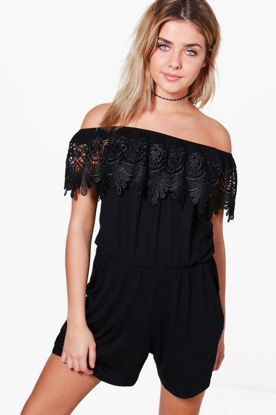 Tia Pom Pom Open Shoulder Playsuit