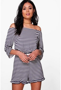 Maddison Off Shoulder Striped Playsuit