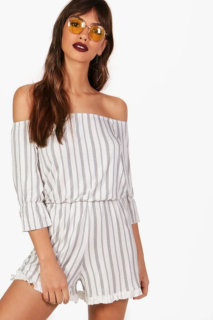 Niamh Off The Shoulder Striped Playsuit