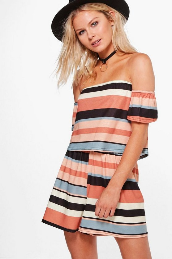 Isobel Striped Off The Shoulder Playsuit