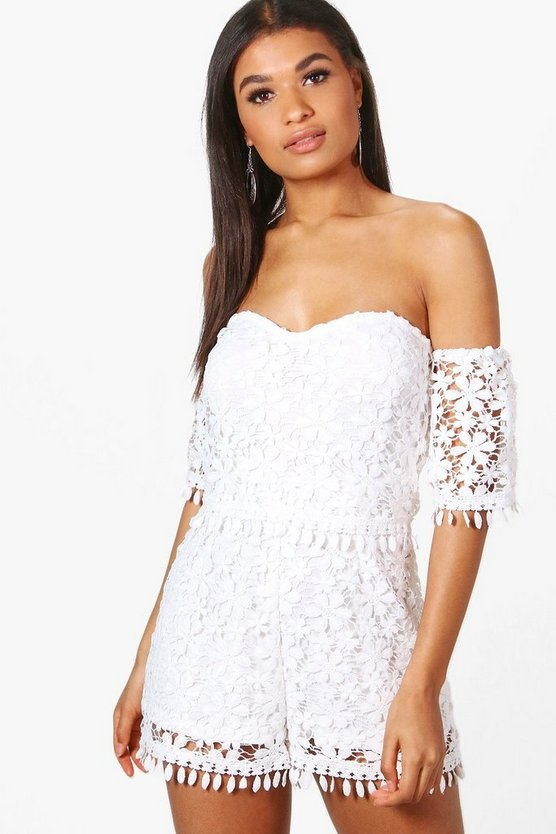 Violet Boutique Crochet Off Shoulder Playsuit