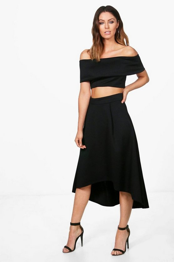 Anna Off Shoulder Crop & Dip Hem Co-ord Set
