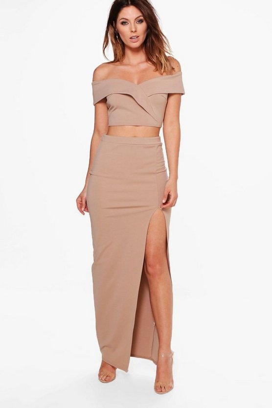 Mia Off Shoulder Crop & Maxi Skirt Co-ord Set
