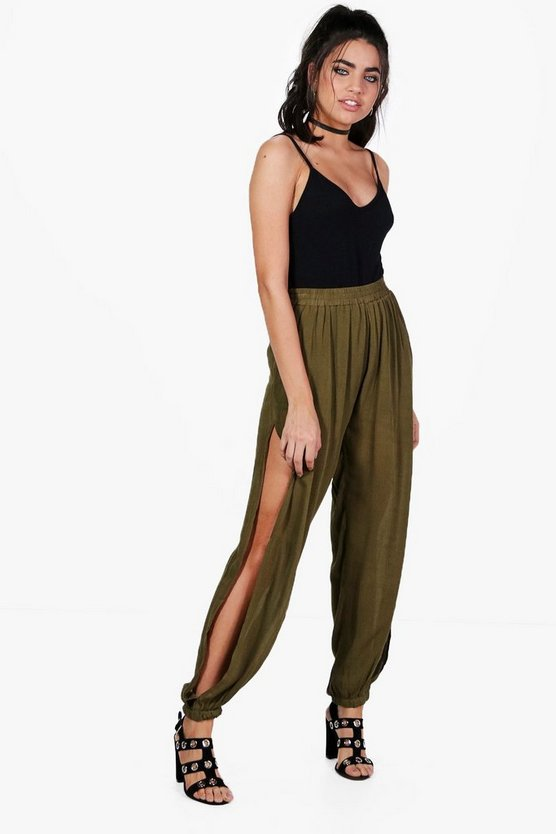 Enya Woven Lightweight Split Leg Hareem Trousers