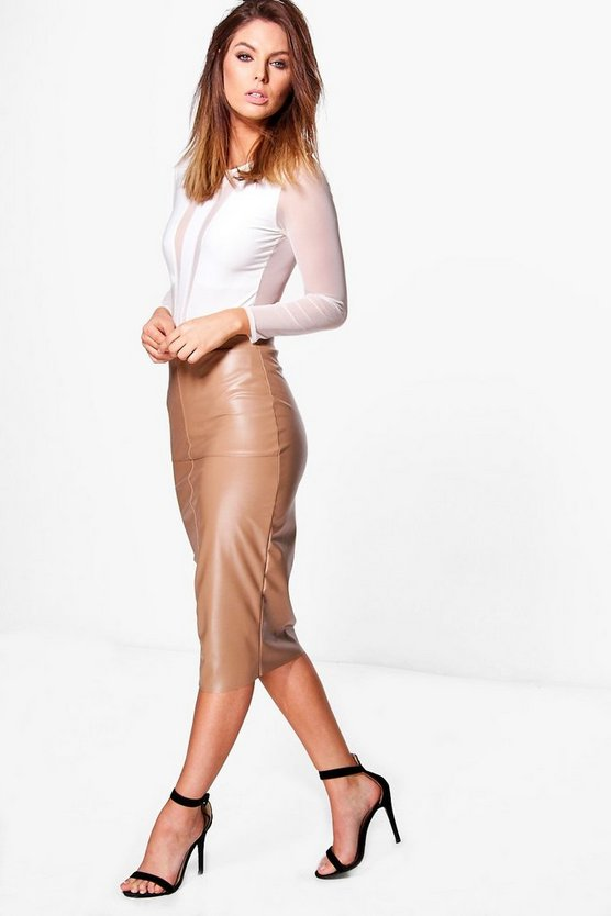 Orla Seamed Leather Look High Waist Midi Skirt
