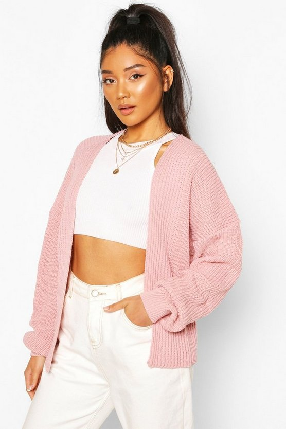 Oversized Rib Cropped Cardigan