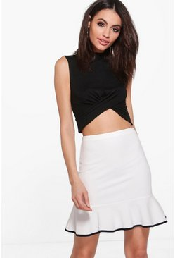 Aya Drop Ruffle Hem Contrast Mini Skirt