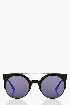 Lucia Retro Brow Bar Black Frame Sunglasses
