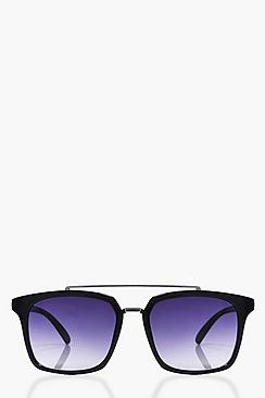 Ebony Oversized Brow Bar Black Sunglasses
