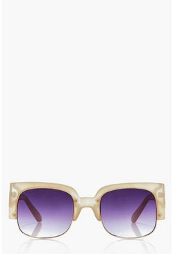 Frankie Oversized Cut Out Nude Sunglasses