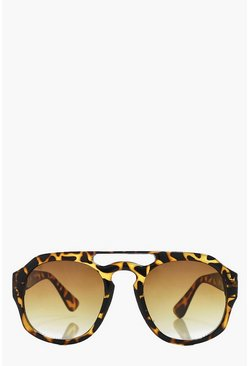 Orla Retro Brow Bar Tortoise Sunglasses
