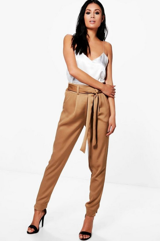 Gracie Luxe Satin Woven Slim Fit Trousers