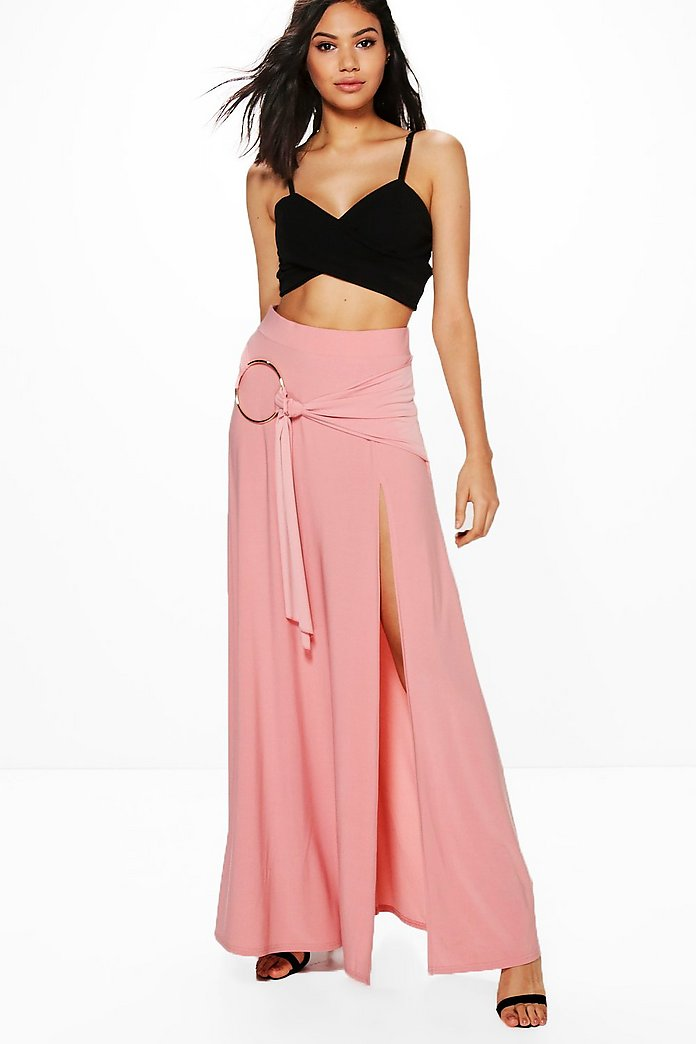 Aura O Ring Thigh Split Maxi Skirt