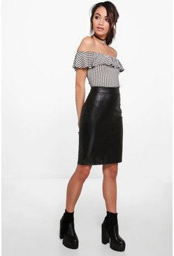 Adriana Leather Look Mock Croc Midi Skirt