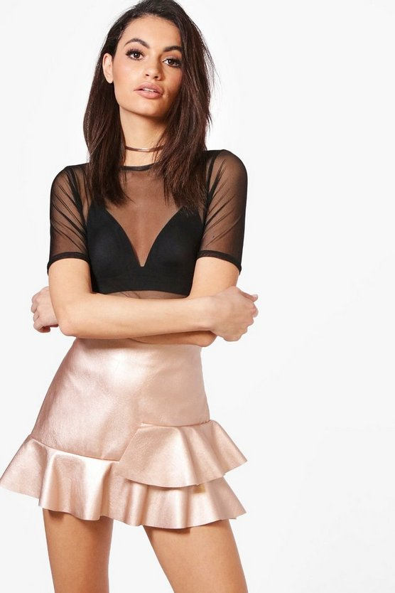 Avery Leather Look Drop Hem Mini Skirt