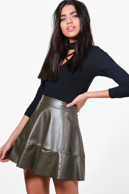 Leather Look Studded Skater Skirt  khaki