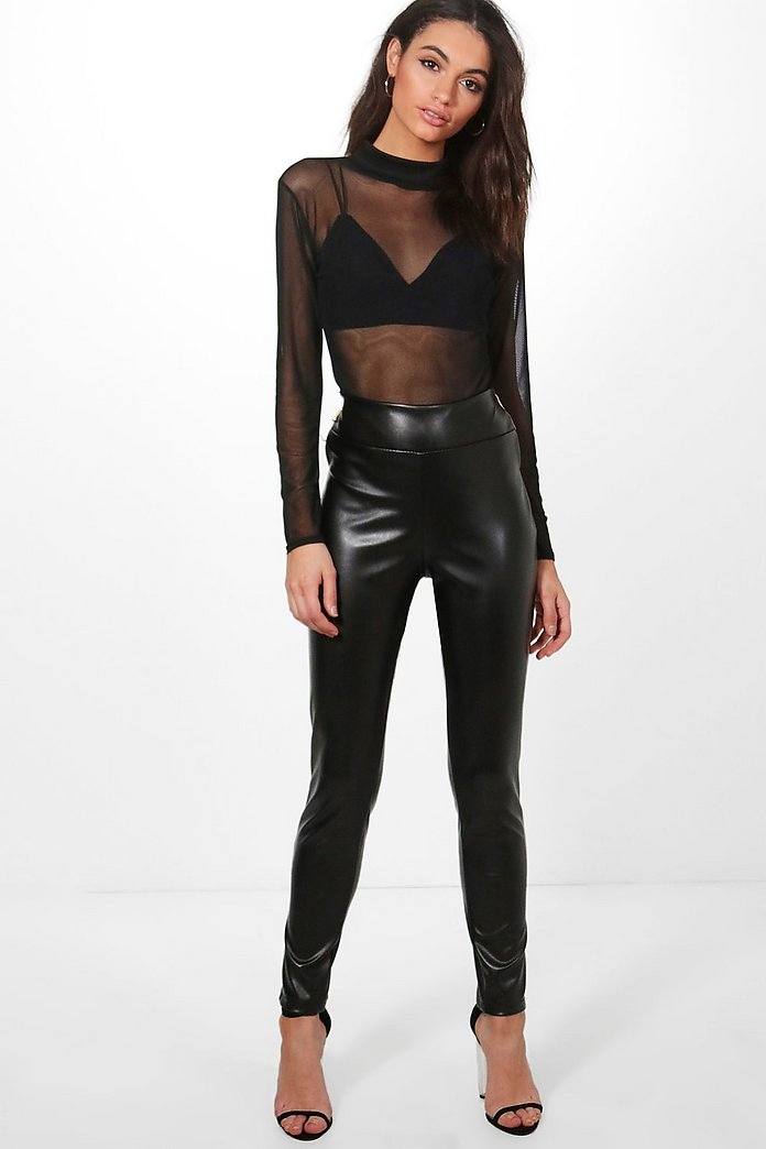 Mia Leather Look Zip Side Trousers