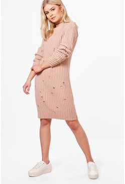 Ella Distressed Rib Knit Jumper Dress