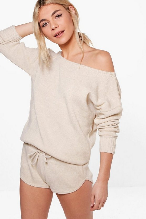 Evie Slash Neck Jumper & Short Lounge Co-ord