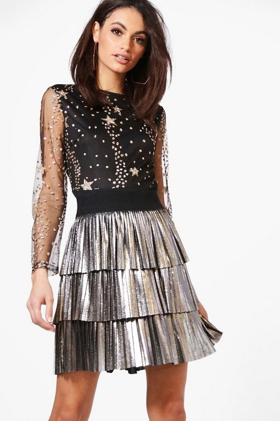 Tiered Pleated Metallic Skirt