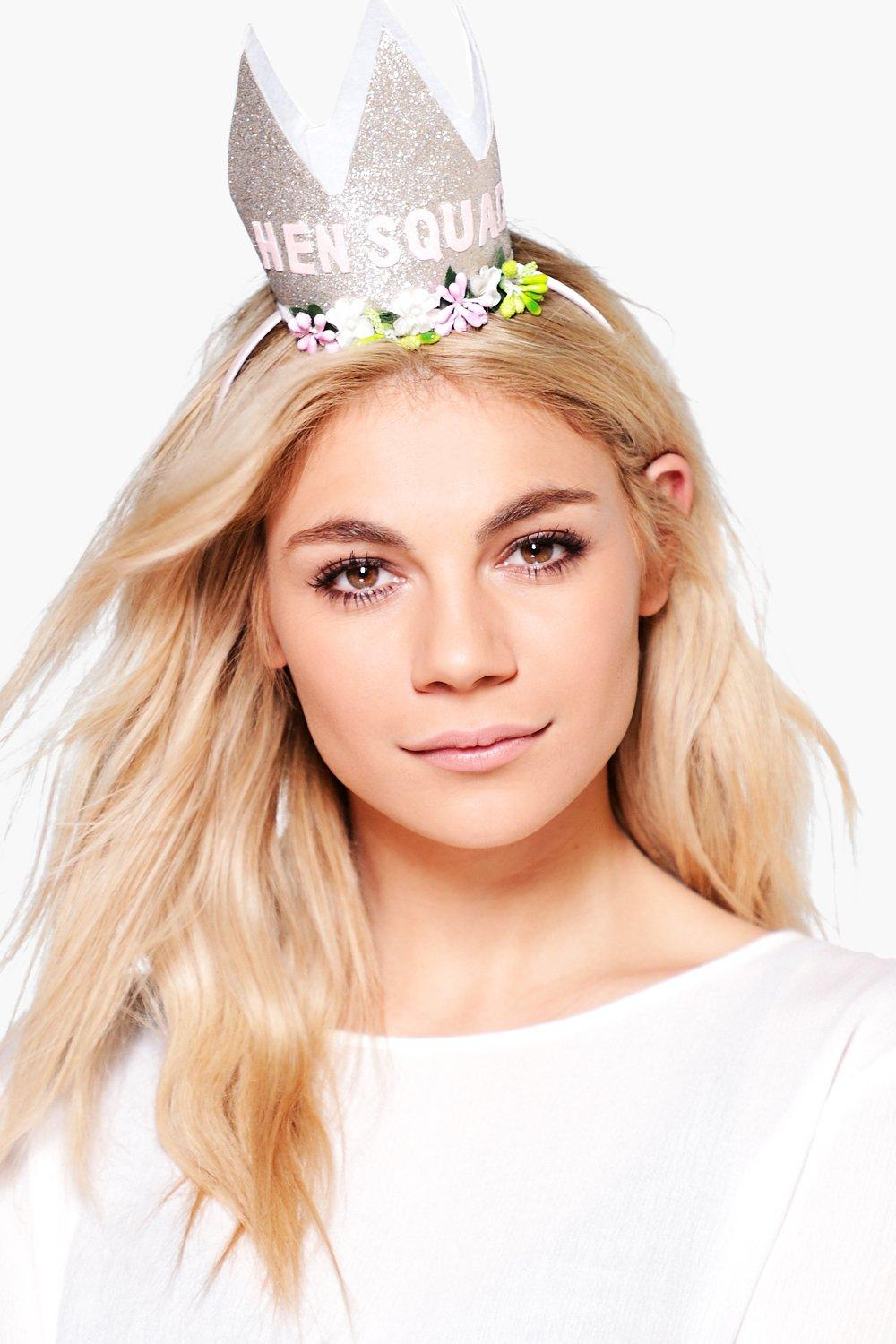 Hen Squad Slogan Crown Headband - gold - Abbie Hen