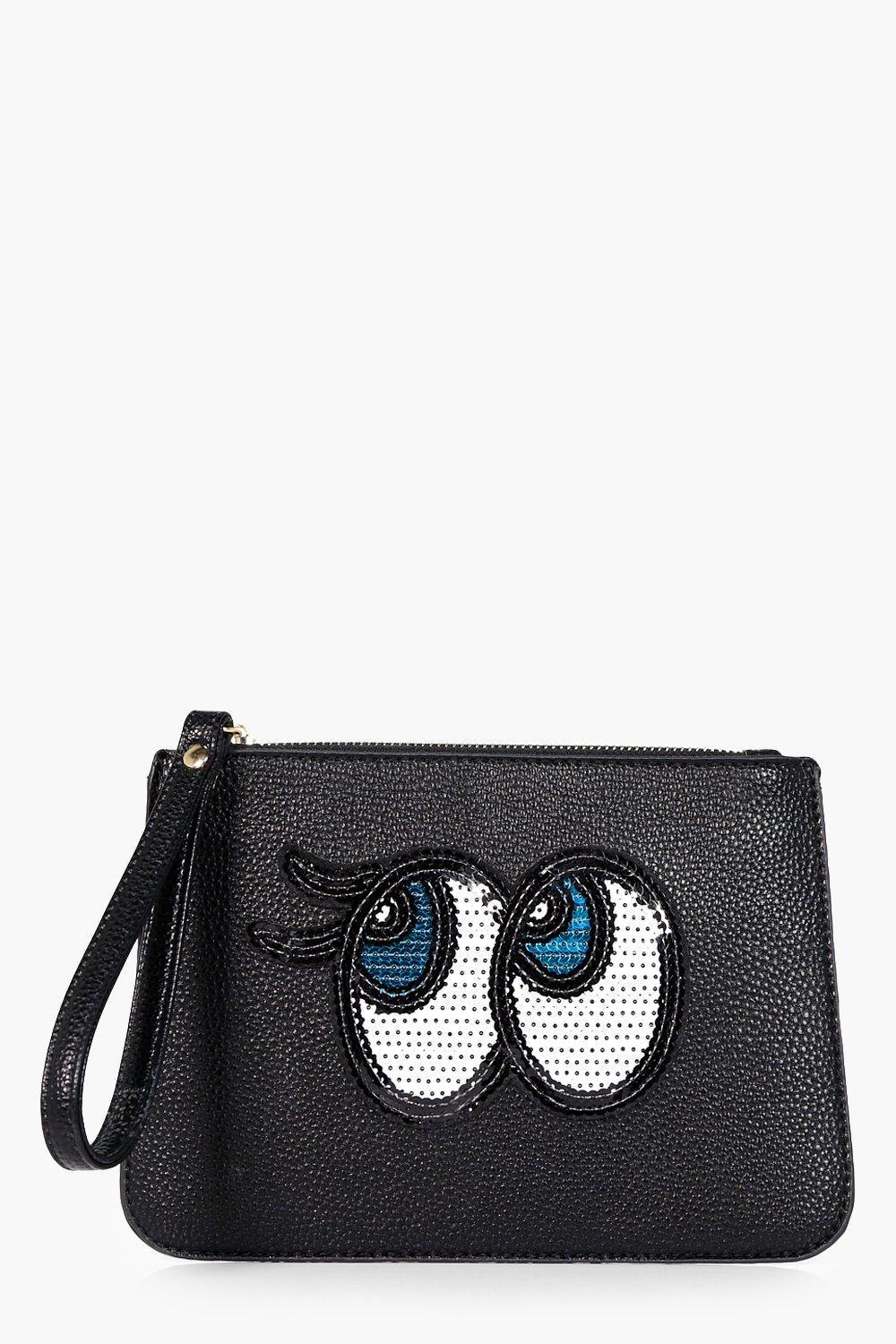 Sequin Eyes Handstrap Clutch - black - Ebony Sequi
