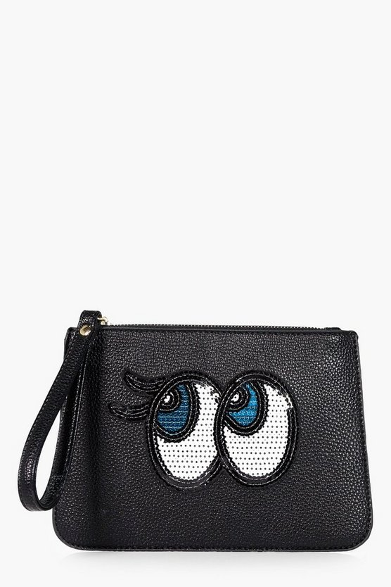Ebony Sequin Eyes Handstrap Clutch