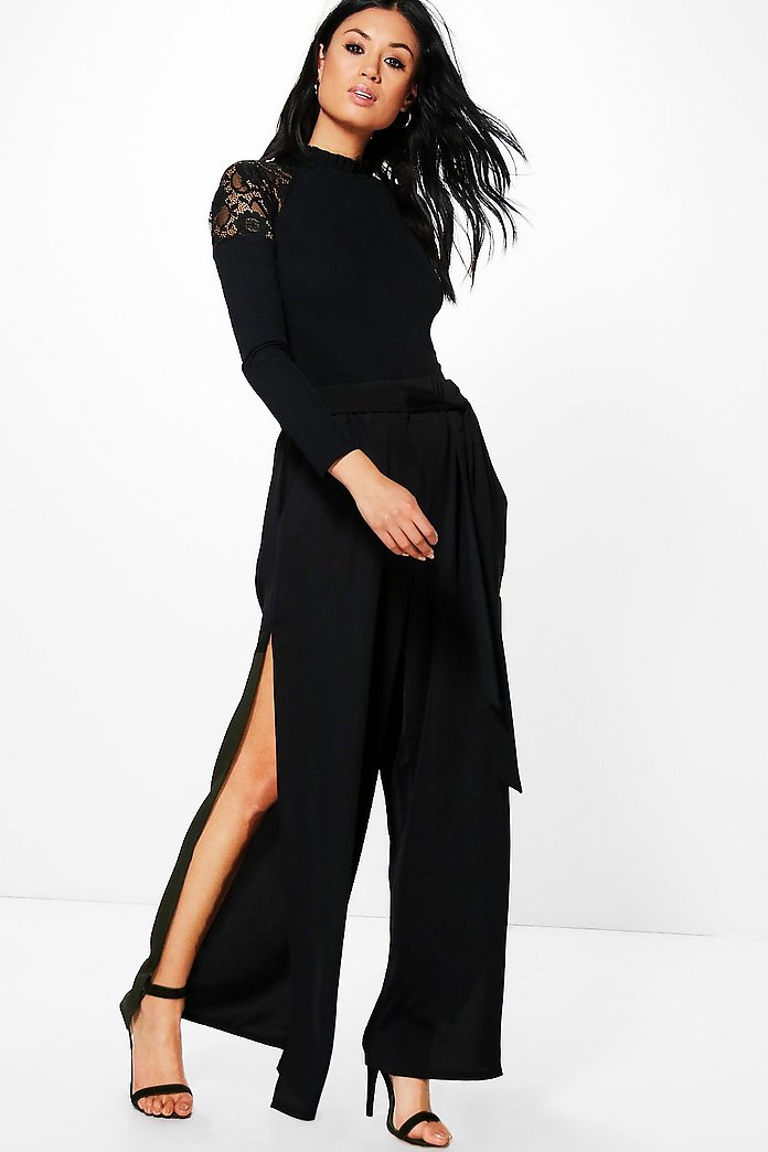 Mila Side Split Matte Satin Wide Leg Trousers