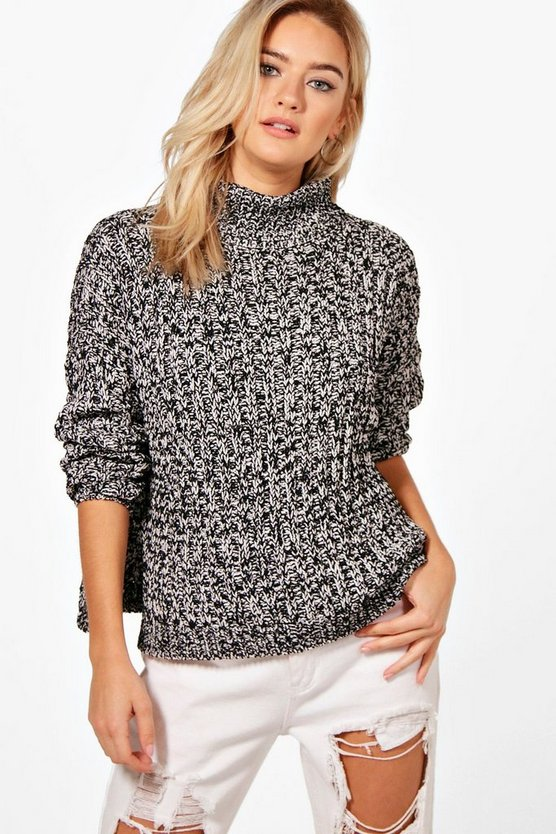 Hannah Roll Neck Loose Fit Ribbed Jumper
