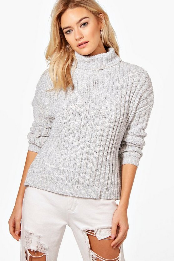 Roll Neck Loose Fit Ribbed Jumper