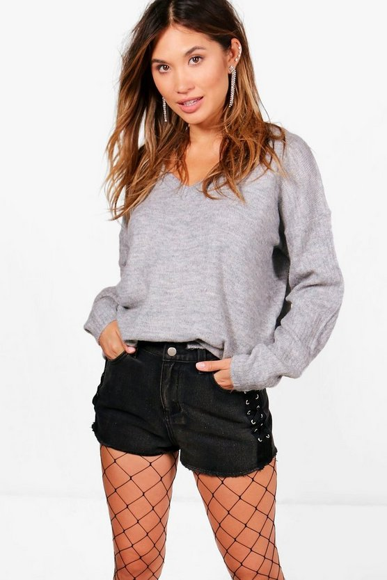 Becky V-Neck Slouchy Rib Sleeved Jumper