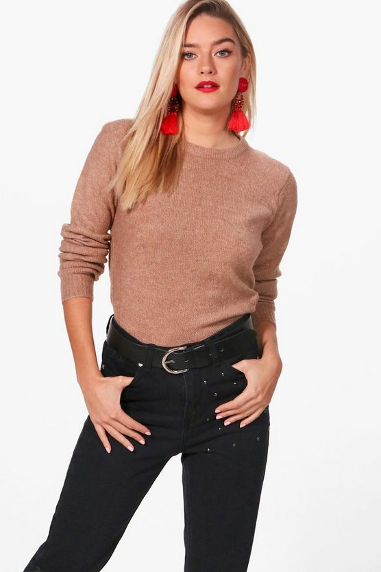 Grace Crew Neck Ribbed Side Seam Jumper