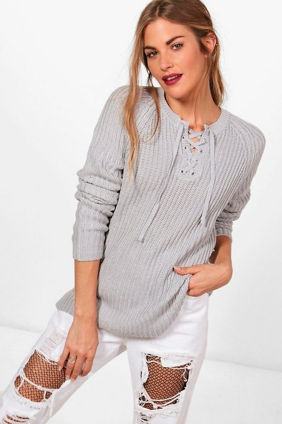 Erin Ribbed Lace Up Front Jumper