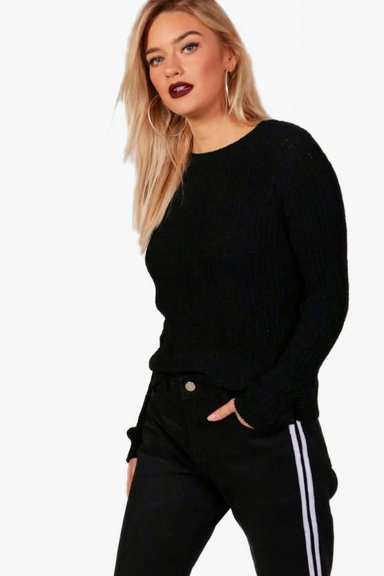 Ellie Crew Neck Fisherman Rib Jumper