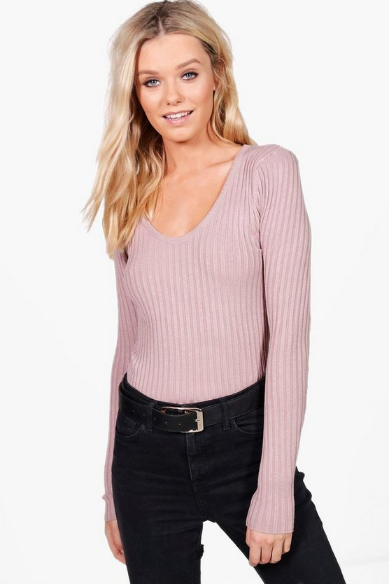 Julia Fine Ribbed V-Neck Jumper