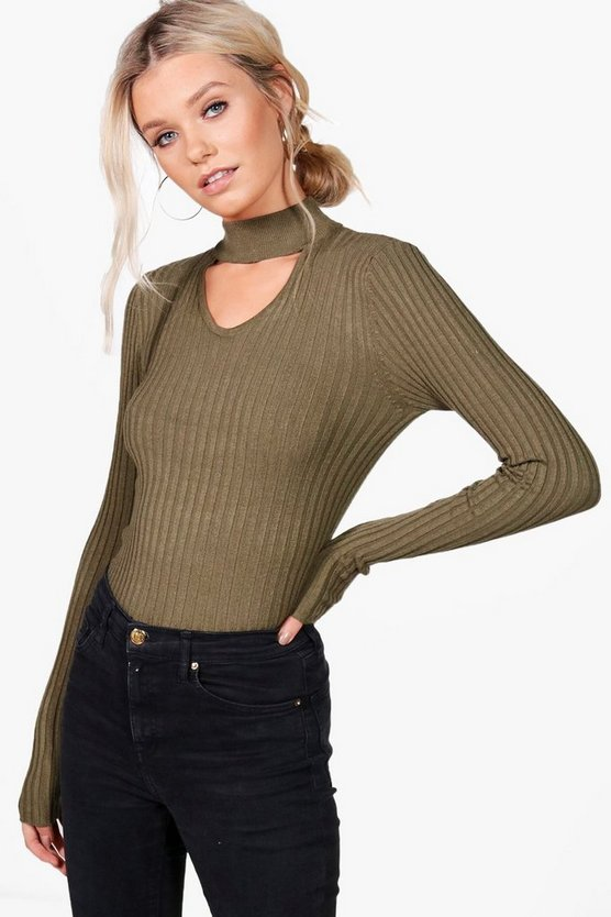 Leah Fine Ribbed Choker Neck Jumper