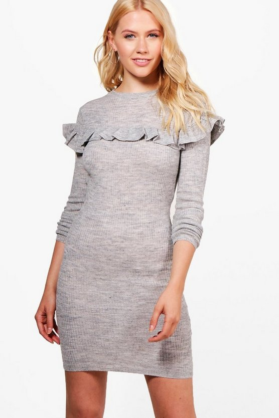 Francesca Rib Dress With Frill Yoke Detail