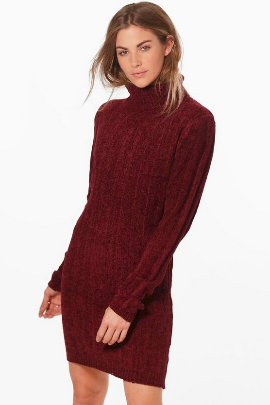 Lisa Ribbed Roll Neck Jumper Dress
