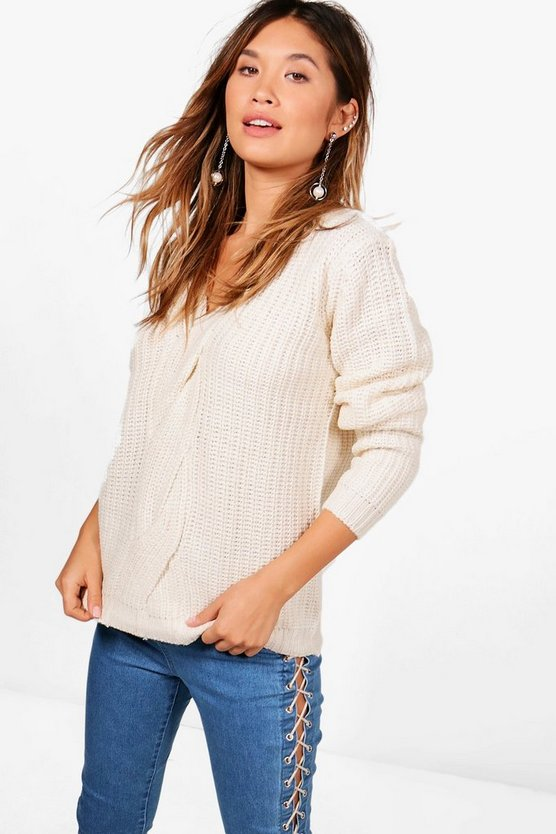 Lena Half Cardigan Knit Jumper