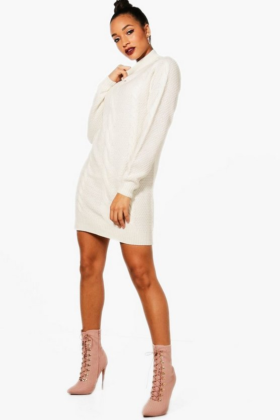 Charlotte Turtleneck Cable Jumper Dress