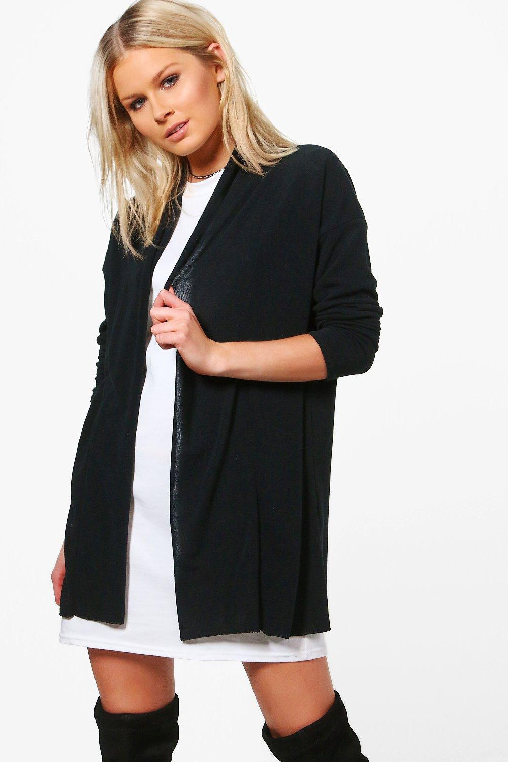 Fine Knit Shawl Collar Cardigan  black