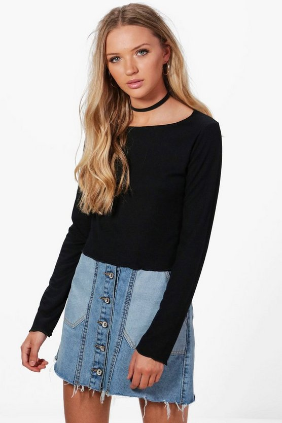 Nicola Frill Edge Rib Knitted Top