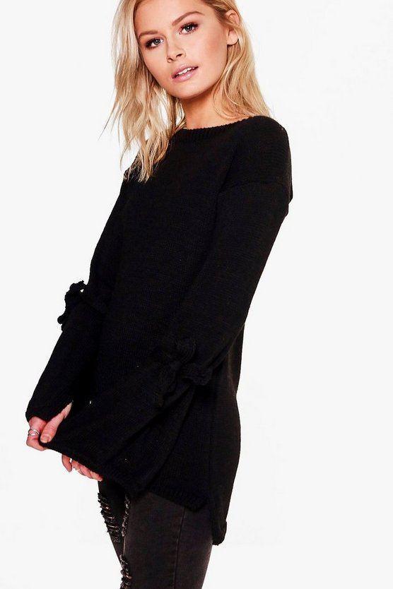 Georgia Oversized Tie Sleeve Knitted Jumper