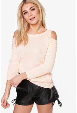 Harriet Contrast Rib Cold Shoulder Jumper