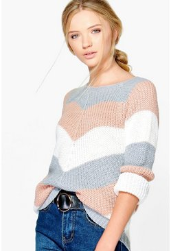 Katerina Contrast Striped Jumper