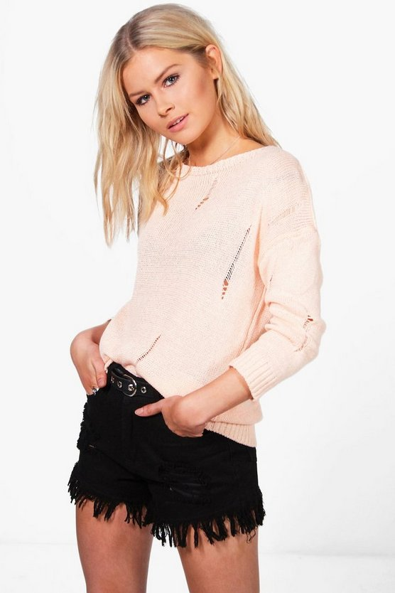 Louisa Distressed Back & Front Jumper