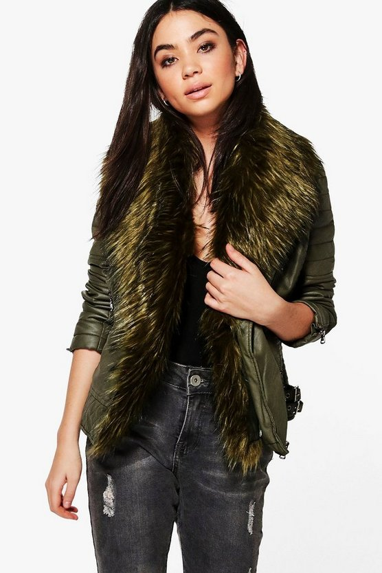 Freya Faux Fur Collar Biker Jacket