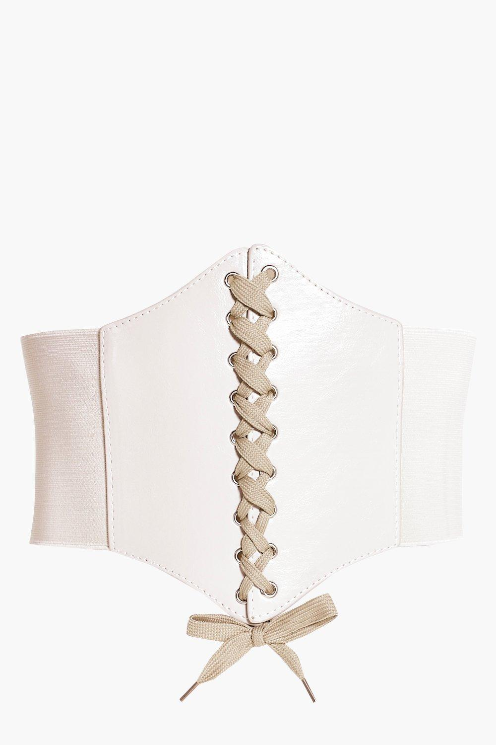 Nude Lace Up Corset Belt - nude - Tilly Nude Lace