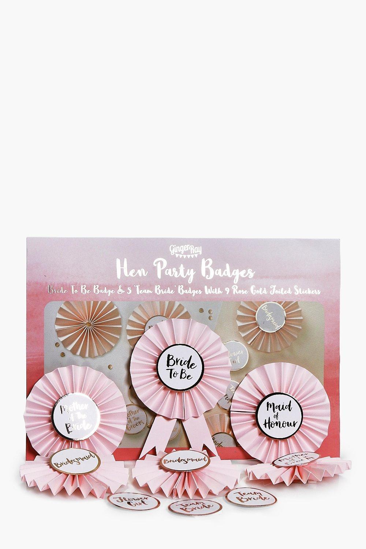 Bride Rosette Badge Kit 6 Pack - pink - Team Bride