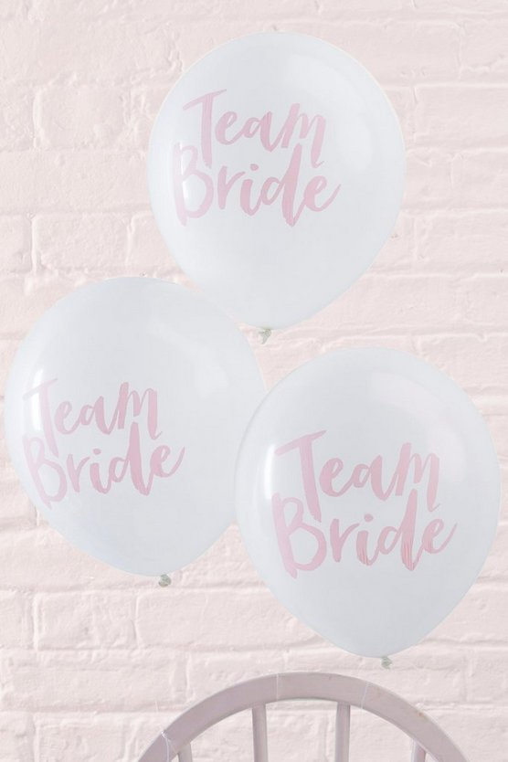 "pack de 10 globos con eslogan ""team bride"""